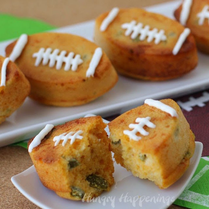 14 Super Bowl Snack Ideas That Are Better Than Actual Football: Jalapeño Cheddar Cornbread Footballs