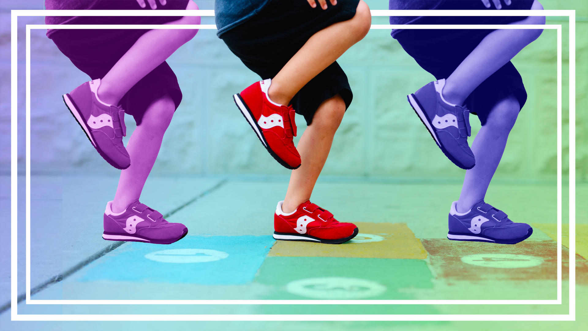 graphic of kids running sneakers