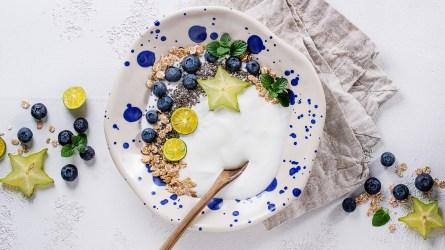 Smoothie bowl healthy breakfast. Yogurt with