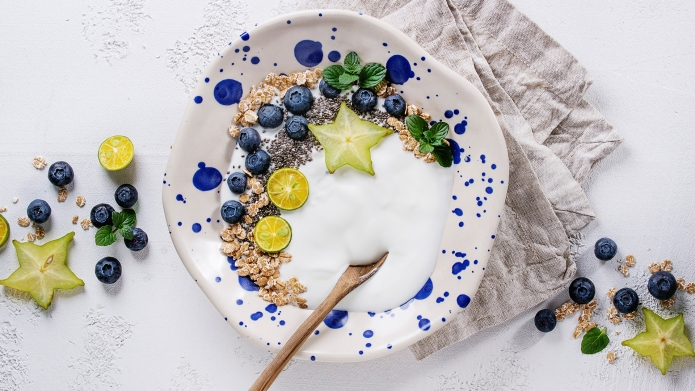 Smoothie bowl healthy breakfast. Yogurt with