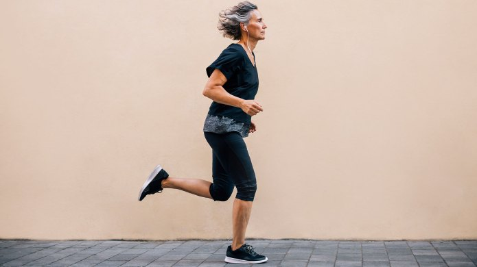 Older woman jogging