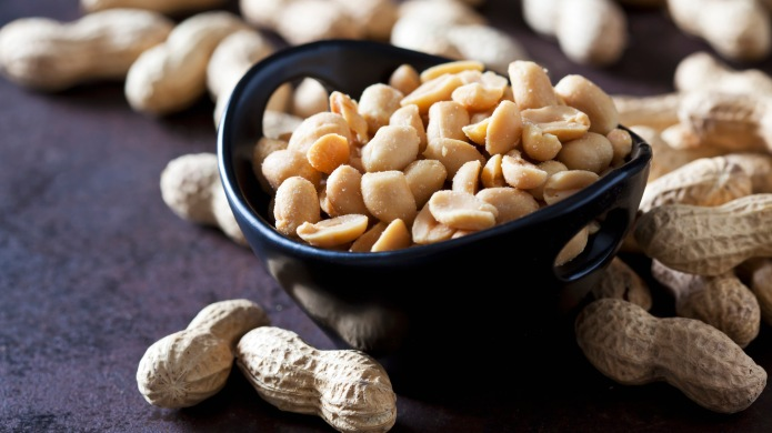 bowl of salted peanuts