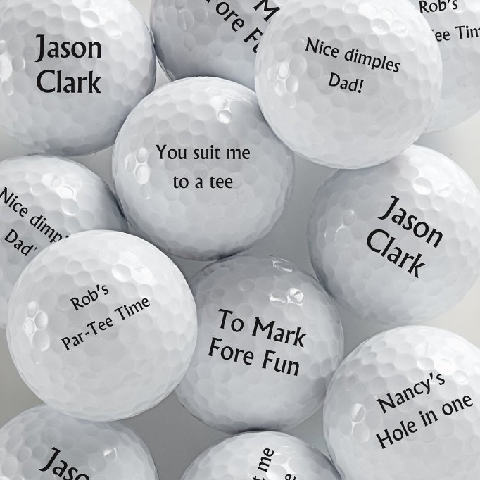 Personalized message golf balls.