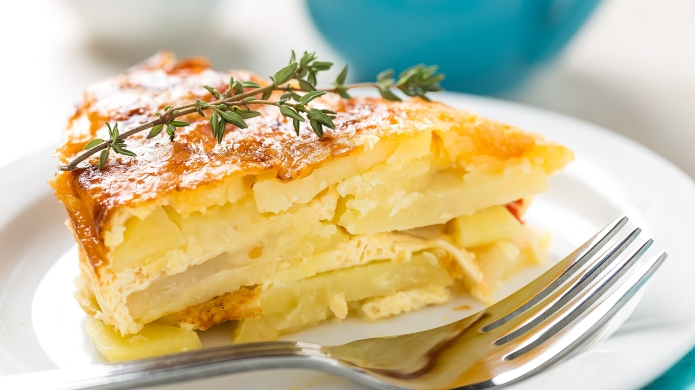 Potato breakfast gratin with parmesan