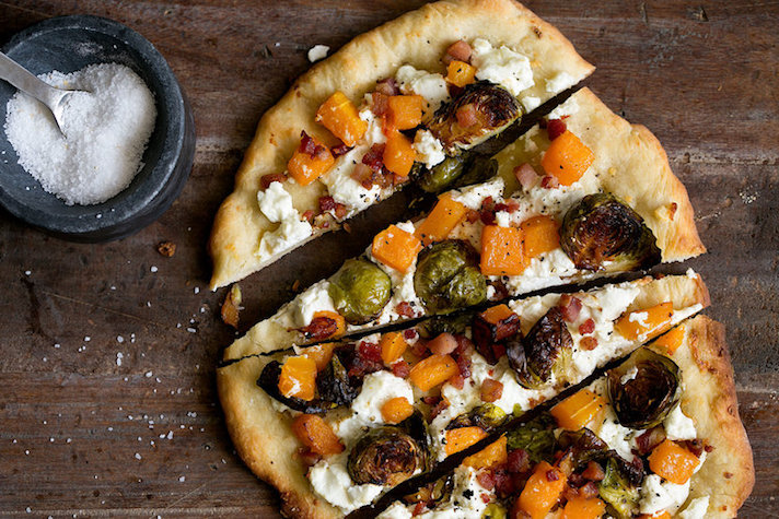 13 Easy Pizza Recipes That Make Great Dinners: Roasted Butternut Squash and Balsamic Brussels Sprout Pizza