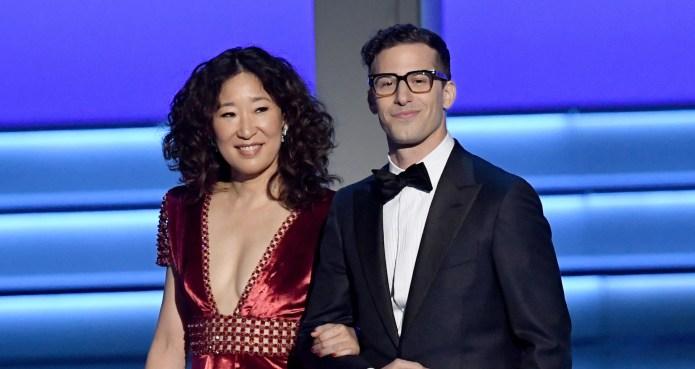 Sandra Oh and Andy Samberg walk