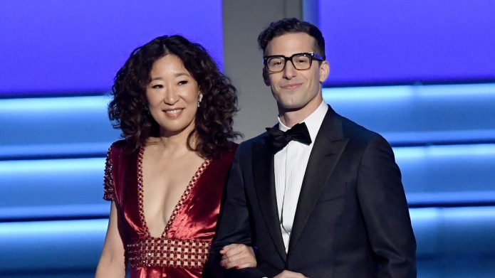 Sandra Oh and Andy Samberg walk