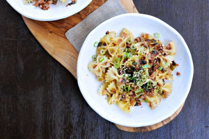 Spicy caramelized spam and scallion pasta.
