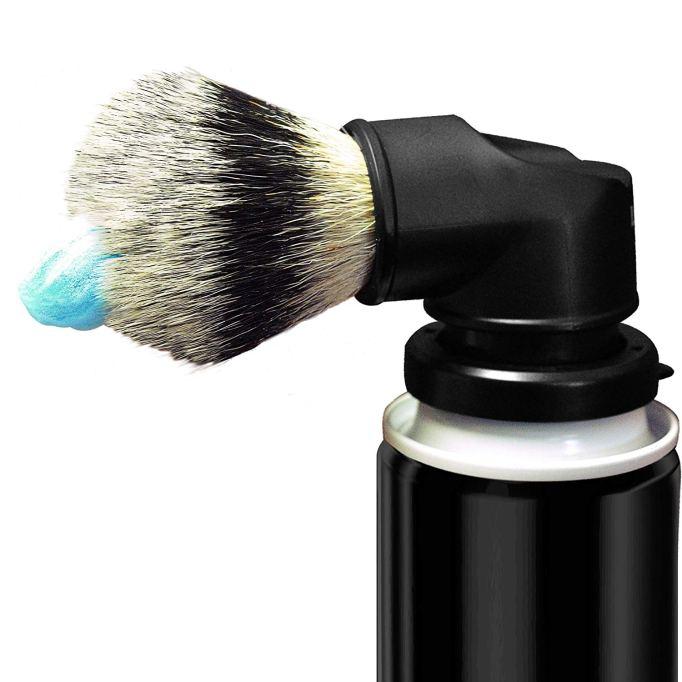 Shaving cream can brush adapter.