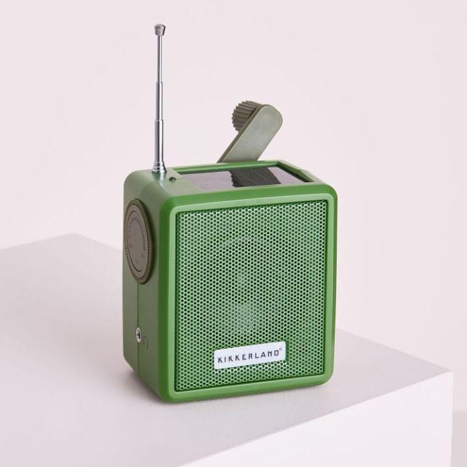 Solar hand crank radio.