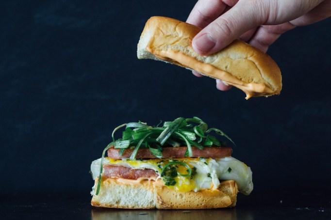 Spam and egg breakfast sandwich.