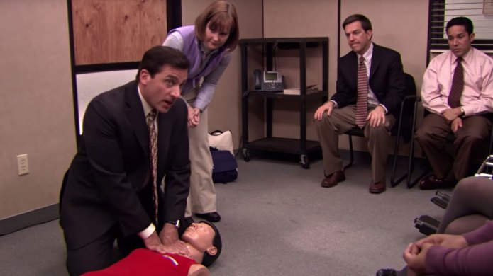 Scene from The Office during CPR