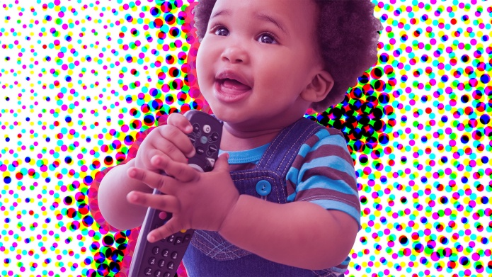 graphic of toddler holding remote