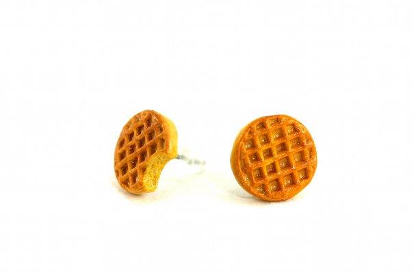 Waffle earrings on Etsy