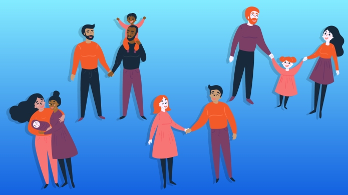 Illustration of different LGBTQ families