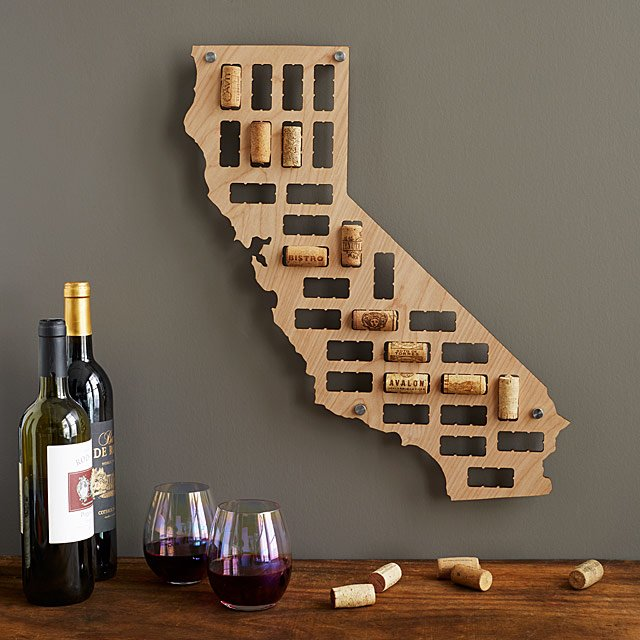 Wine cork state map.