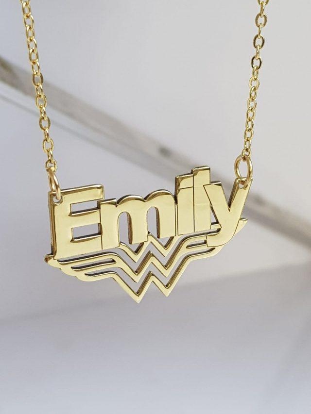 Wonder Woman customizable name necklace pendant on Etsy