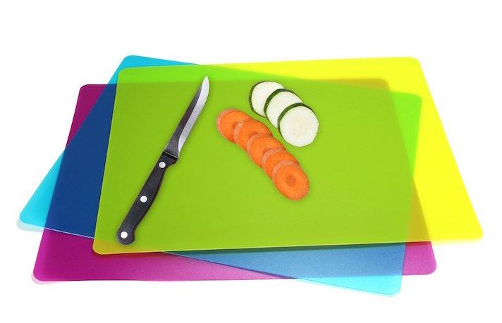 Flexible Plastic Cutting Boards Mats, Set of 3 Colored Mats