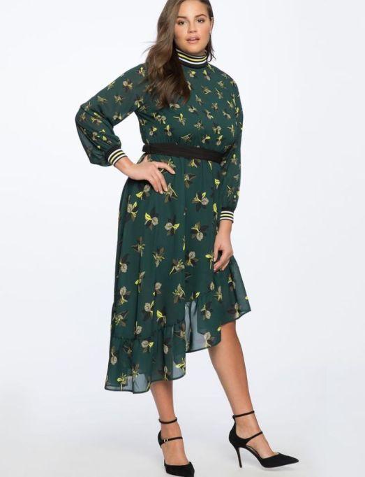 Asym Hem Dress with Rib Trim