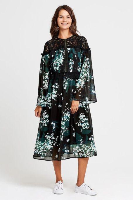 Beatrix Floral + Lace Mix Tea Dress