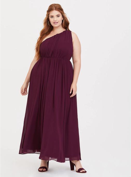 Burgundy One-Shoulder Chiffon Gown