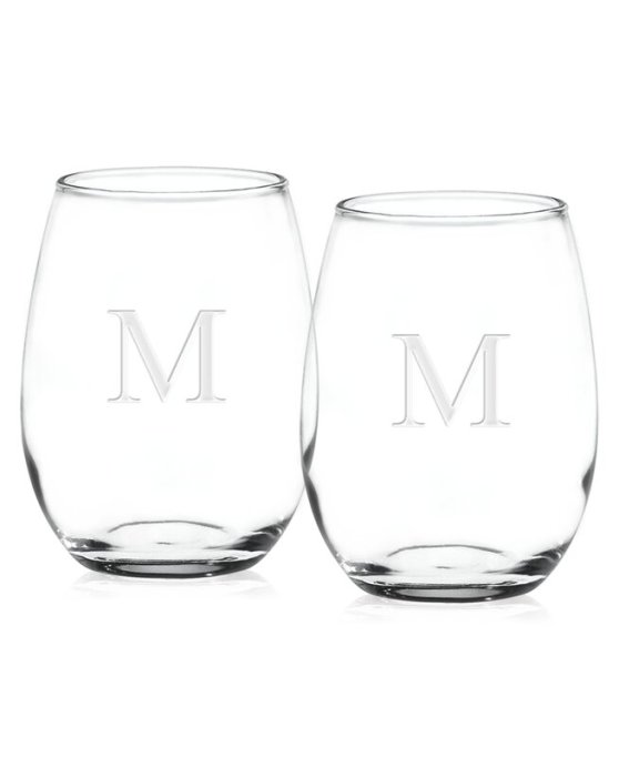 Receiving Gifts: Monogram wine glasses