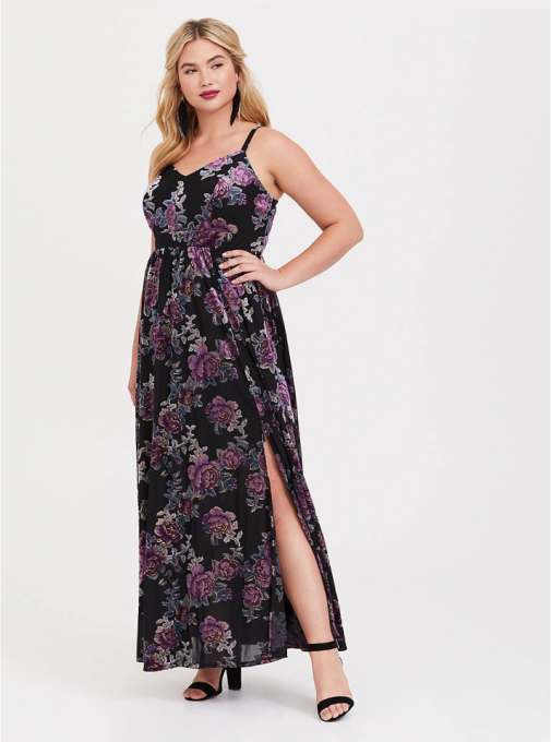 Floral Burnout Velvet Maxi Dress