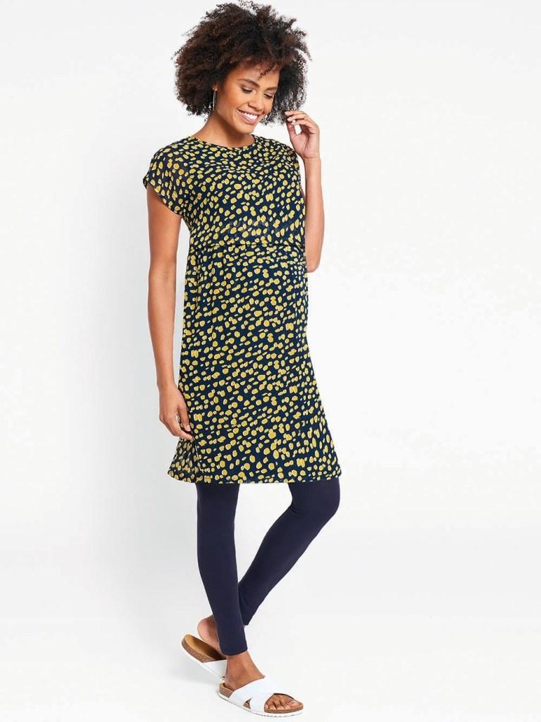 Jo Jo Maman Bébé Pebble-Print Pleated Tunic Dress