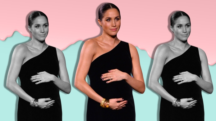 Meghan Markle holding pregnant belly