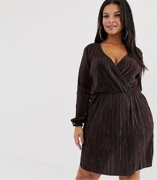 River Island Wrap Dress in Chocolate