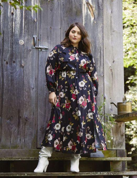 Ruffle Front Print Maxi Dress