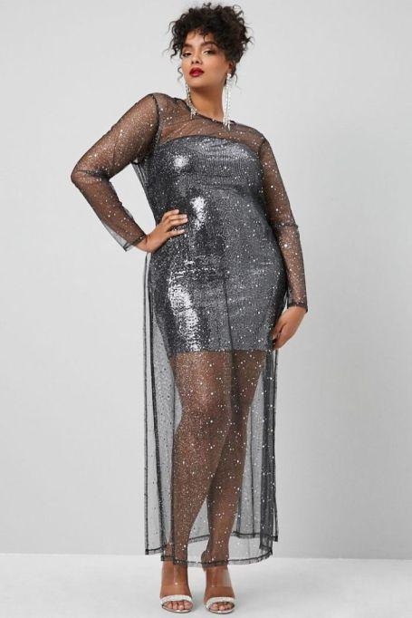 Sheer Glitter Star Print Dress