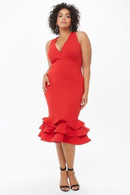 Structured Flounce Midi Dress
