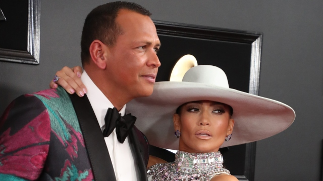 Alex Rodriguez and Jennifer Lopez at the Grammys.