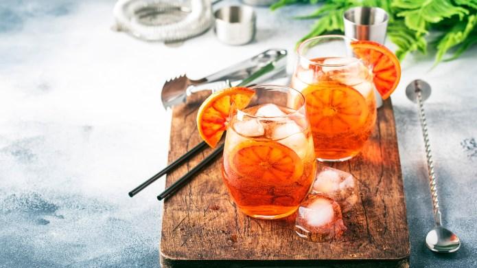 Aperol spritz cocktail in wine glass