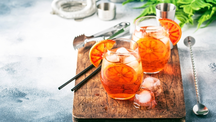 Aperol spritz cocktail in wine glass