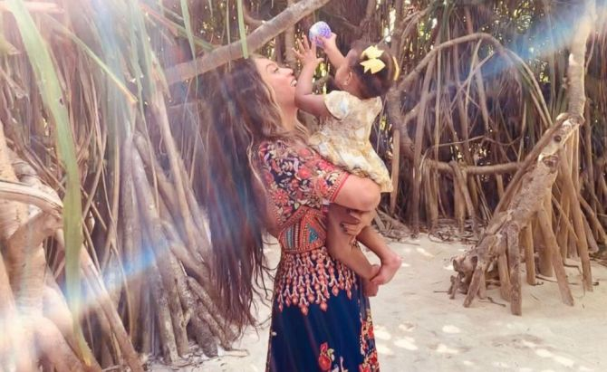 Beyonnce with daughter Rumi