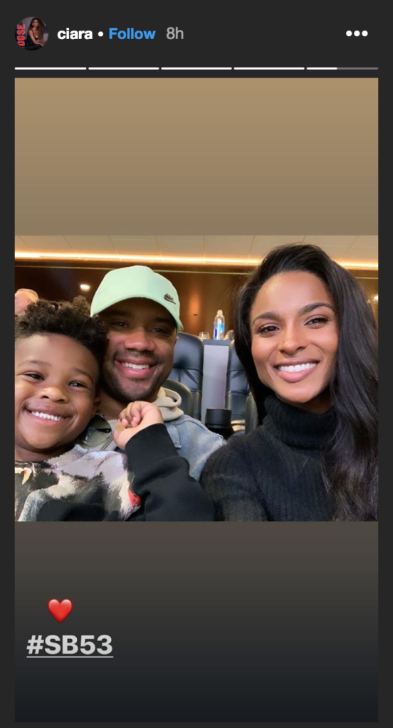 Photo of Ciara, Russell Wilson and daughter Sienna at Super Bowl 2019