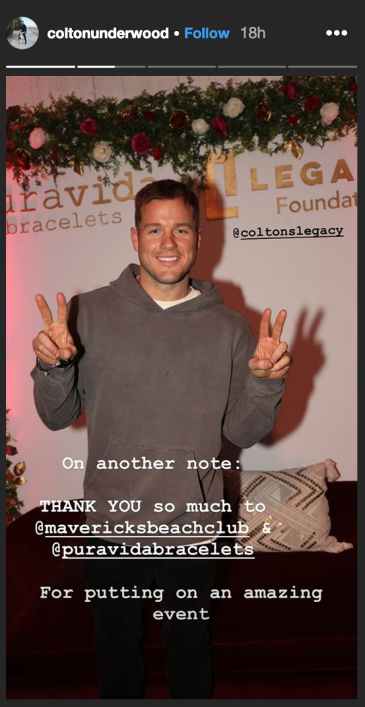 Photo of Colton Underwood's Instagram Story claiming he was 'inappropriately touched'