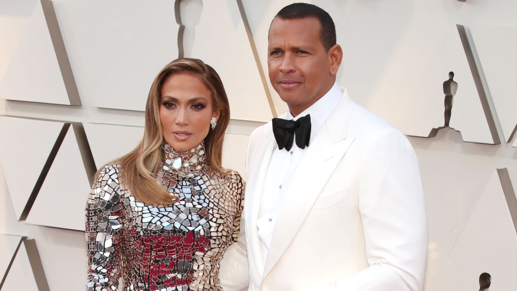 Jennifer Lopez and Alex Rodriguez at the 91st Oscars.