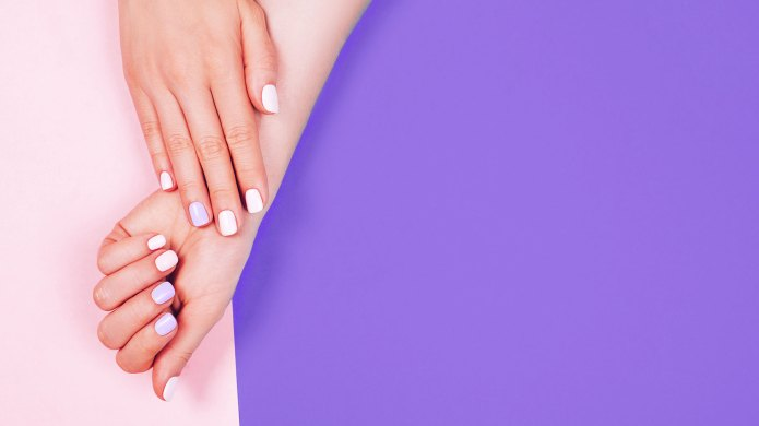 nails on a purple background
