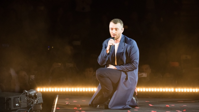 English singer Sam Smith performs onstage during his 'the Thrill of It All' world tour 2018 at Mercedes-Benz Arena on October 23, 2018 in Shanghai, China.