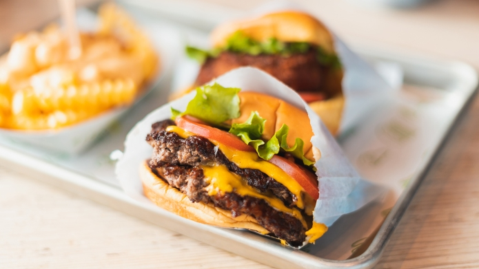 double cheeseburger with tomato and onion;