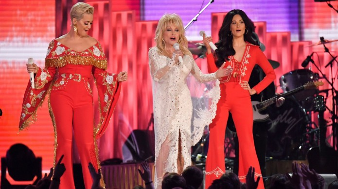Dolly Parton at the 61st Grammys