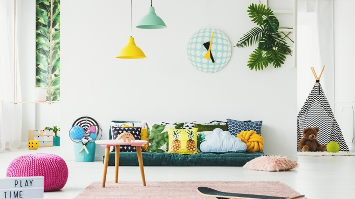Botanical kid's room interior decorated with