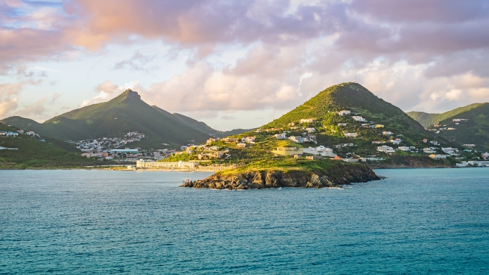 Philipsburg, St Maarten. Sea and mountain