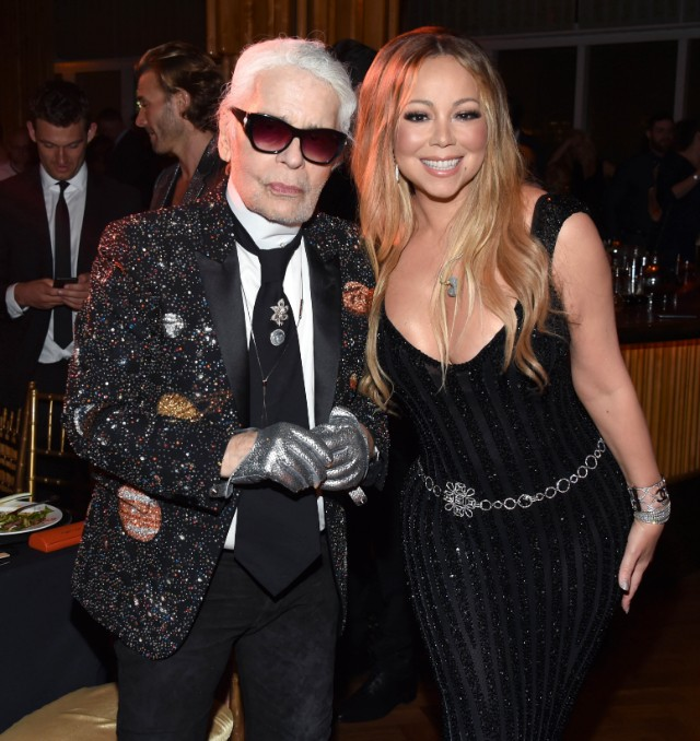 Karl Lagerfeld and Mariah Carey pose for a photo at the V Magazine dinner in honor of Karl Lagerfeld