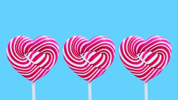 Heart-shaped lollipops