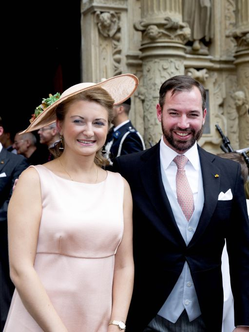 Hereditary Grand Duke Guillaume of Luxembourg and Grand Duchess Stephanie of Luxembourg at the Te Deum at the Notre-Dame cathedral National Day celebrations in Luxembourg - 23 Jun 2018