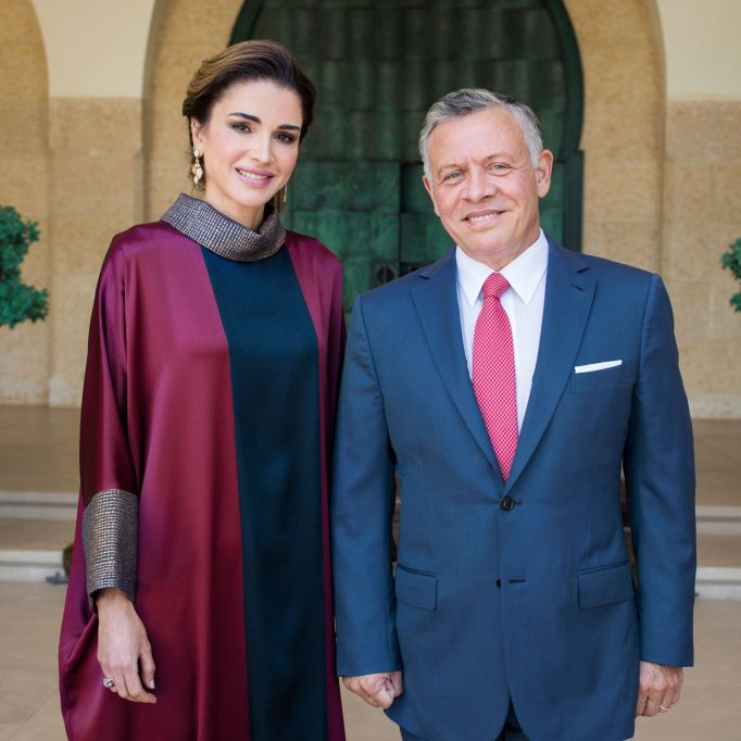 Their Majesties King Abdullah II and Queen Rania at this year's celebration of the 72nd Anniversary of Jordan's Independence Day, Al Husseiniya Palace, Amman Jordanian Royals on Independence Day, Jordan, Middle East - 27 May 2018